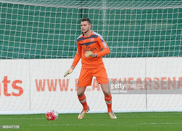 Ryan Huddart of Arsenal during the Barclays Premier U21 match between Arsenal U21 and West Bromwich Albion U21 at London Colney on January 5 2016 in...
