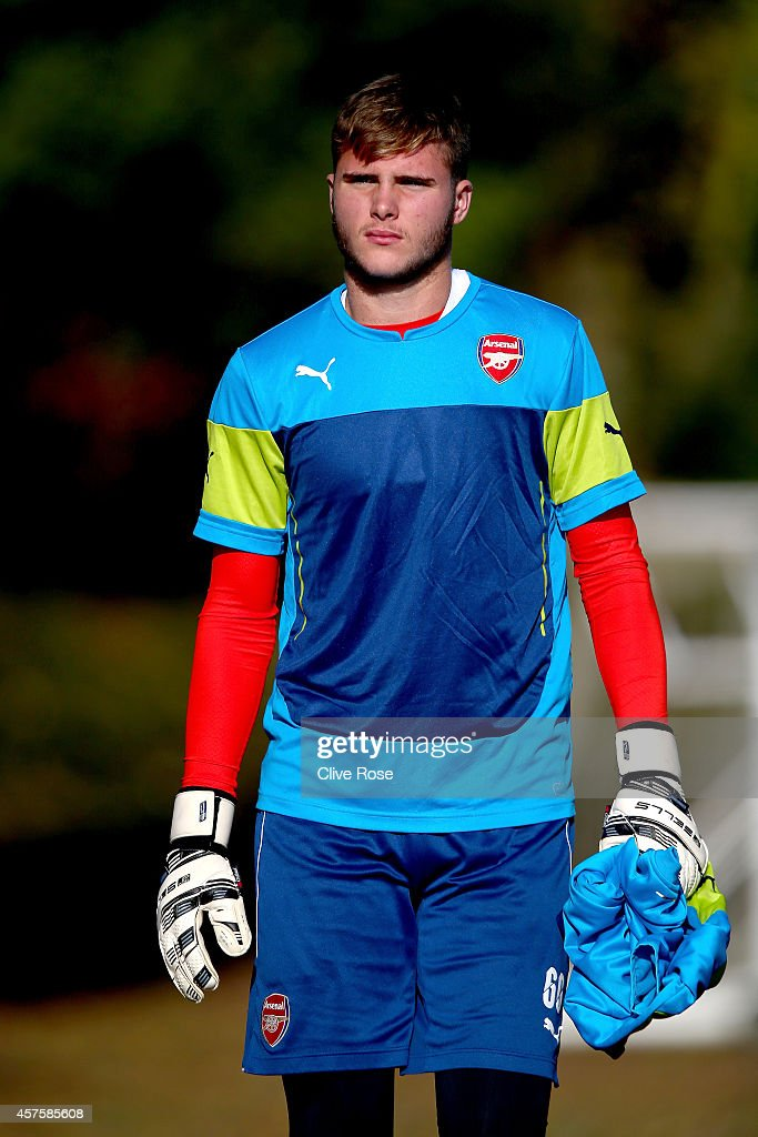 Ryan Huddart of Arsenal walks out prior to a training session at London Colney on October 21, 2014 in St Albans, England.
