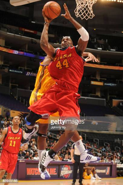 Ryan Humphrey of the Tulsa 66ers goes up for a shot against the Los Angeles DFenders at Staples Center on December 7 2008 in Los Angeles California...