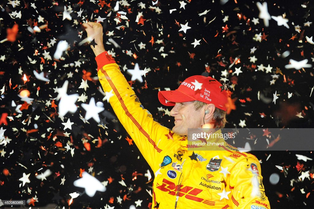 Ryan Hunter-Reay, driver of the #28 DHL Andretti Autosport Dallara Honda, celebrates after winning the Iowa Corn Indy 300 at Iowa Speedway on July 12, 2014 in Newton, Iowa.
