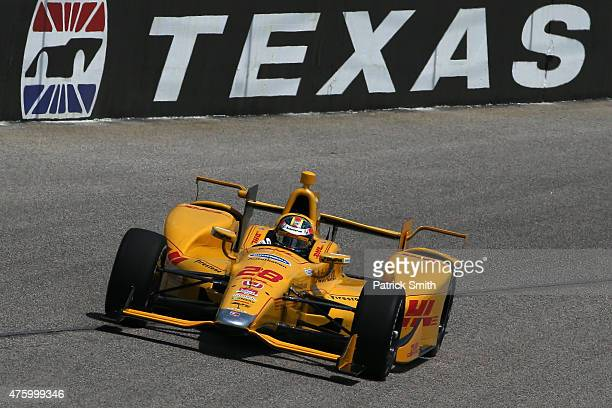 Ryan HunterReay driver of the DHL Honda practices for the Verizon IndyCar Series Firestone 600 at Texas Motor Speedway on June 5 2015 in Fort Worth...