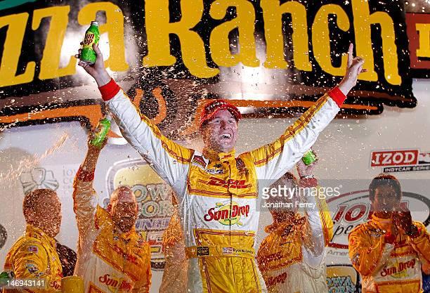 Ryan HunterReay driver of the DHL Sun Drop Soda Andretti Autosport Chevrolet Dallara celebrates his win during the IZOD INDYCAR Series Iowa Corn Indy...