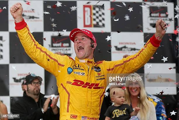 Ryan HunterReay drives the Andretti Autosport Dallara Honda celebrates winning the Honda Indy Car Grand Prix of Alabama at Barber Motorsports Park on...