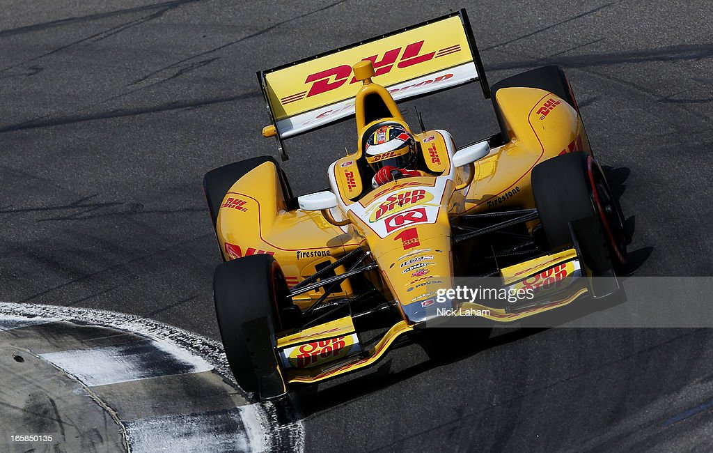 Ryan Hunter-Reay, drives the #1 Andretti Autosport DHL Chevrolet during qualifying for the Honda Indy Grand Prix of Alabama at Barber Motorsports Park on April 6, 2013 in Birmingham, Alabama.