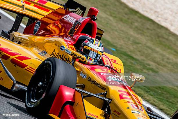 Ryan Hunter-Reay drives the Honda IndyCar on the track during practice for the Honda Indy Grand Prix of Alabama at Barber Motorsports Park on April...