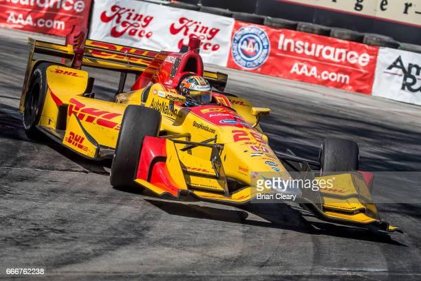 Ryan HunterReay drives the Honda IndyCar through a turn during the Grand Prix at Long Beach IndyCar race on April 9 2017 in Long Beach California