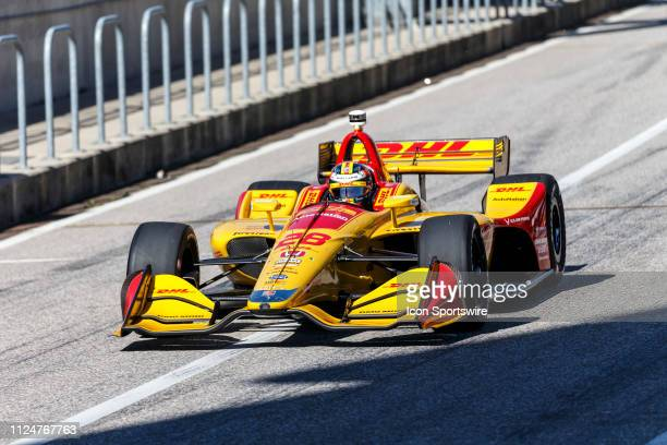 Ryan HunterReay in a Honda powered Dallara IR12 leaves the pits during the IndyCar Spring Training on February 12 at Circuit of the Americas in...