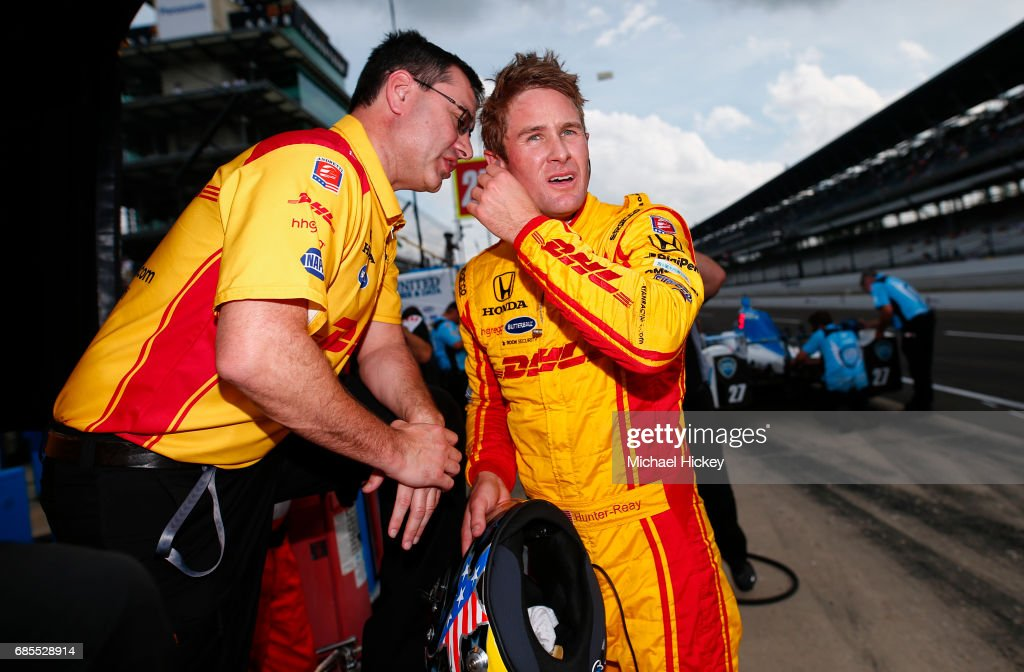 Ryan Hunter-Reay is seen during practice for the Indianapolis 500 at Indianapolis Motor Speedway on May 19, 2017 in Indianapolis, In.