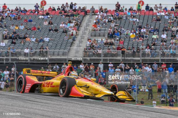 Ryan HunterReay of Andretti Autosport driving a Honda accelerates out of turn 1 during the IndyCar Classic at Circuit of the Americas on March 24...
