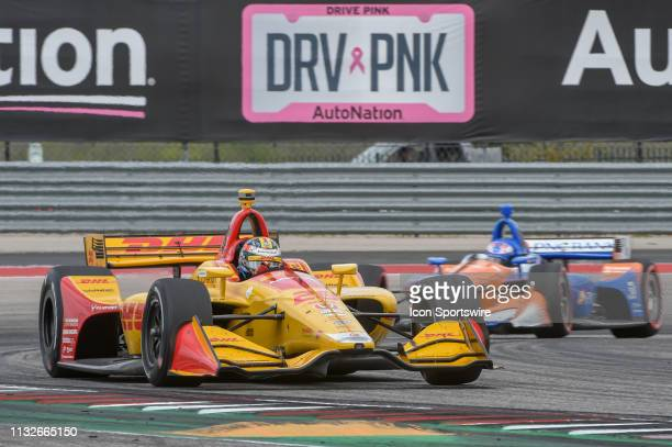 Ryan HunterReay of Andretti Autosport driving a Honda accelerates out of turn 19 during the IndyCar Classic at Circuit of the Americas on March 24...