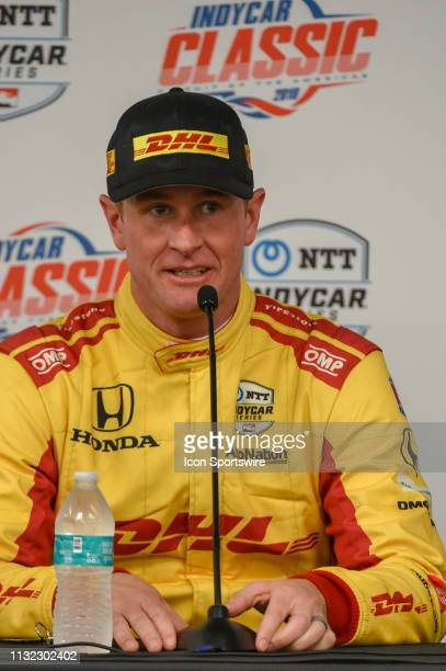 Ryan HunterReay of Andretti Autosport driving a Honda speaks during a press conference following the IndyCar afternoon qualifications at Circuit of...