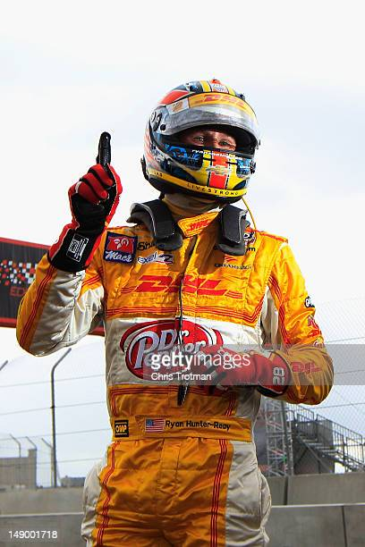 Ryan HunterReay of the United States driver of the Team DHL/Sun Drop Citrus Soda Andretti Autosport Dallara Chevrolet reacts after winning the pole...