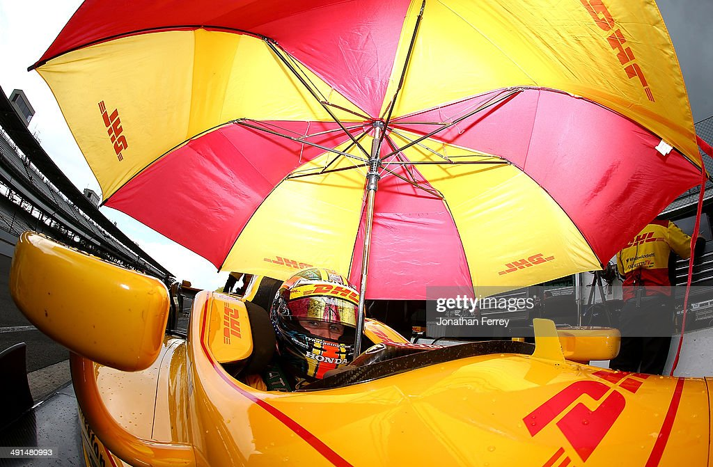 Ryan Hunter-Reay sits in his #28 DHL Andretti Autosport Honda Dallara during practice for the 98th Indianapolis 500 Mile Race on May 16, 2014 at the Indianapolis Motor Speedway in Indianapolis, Indiana.