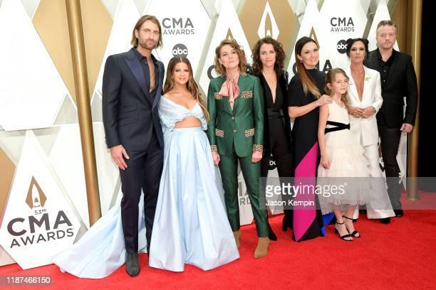 Ryan Hurd, Maren Morris, Brandi Carlile, Catherine Shepherd, Natalie Hemby, Amanda Shires and Jason Isbell attend the 53rd annual CMA Awards at the...