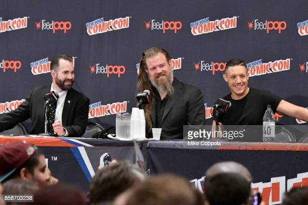 Ryan Hurst and Theo Rossi speak at the Sons of Anarchy panel during 2017 New York Comic Con Day 3 on October 7 2017 in New York City