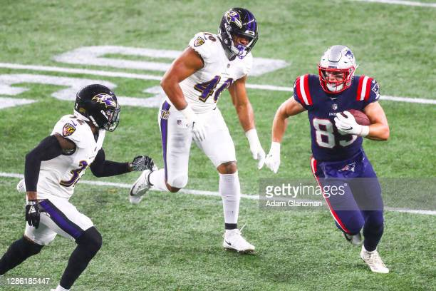 Ryan Izzo of the New England Patriots runs with the ball during a game against the Baltimore Ravens at Gillette Stadium on November 15, 2020 in...
