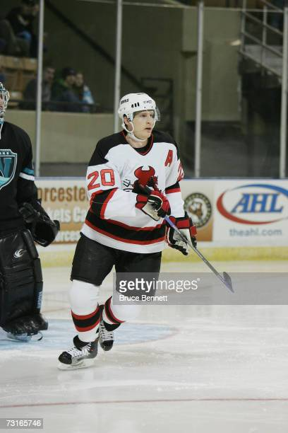 Ryan J Murphy of the Lowell Devils skates against the Worcester Sharks on January 19 2007 at the DCU Center in Worcester Massachussets The Devils won...