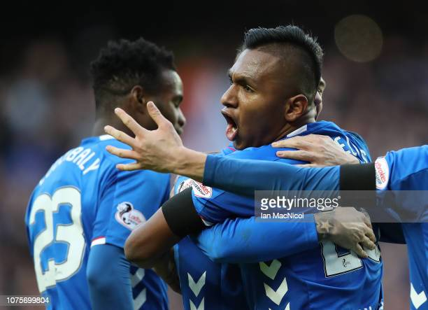 Ryan Jack of Rangers celebrates at full time with Alfredo Morelos during the Ladbrookes Scottish Premiership match between Rangers and Celtic at...