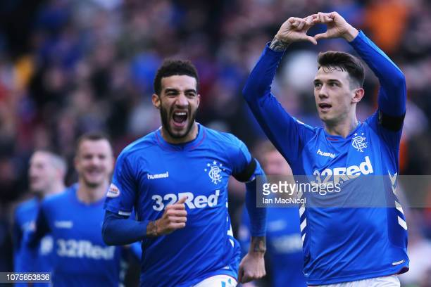 Ryan Jack of Rangers celebrates scoring his teams first goal of the game during the Ladbrokes Scottish Premier League between Celtic and at Ibrox...