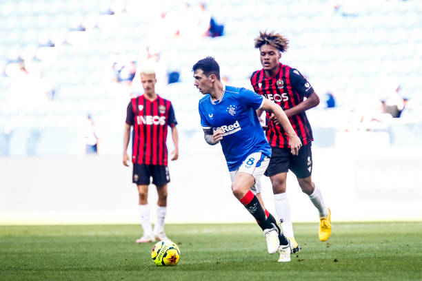 Ryan JACK of Rangers during the Veolia Trophy match between Nice and Glasgow Rangers at Groupama Stadium on July 18, 2020 in Lyon, France