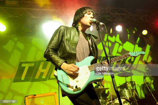 Ryan Jarman of The Cribs performs on stage during a date of their November 2012 UK Tour at O2 Academy Leicester on November 1 2012 in Leicester...