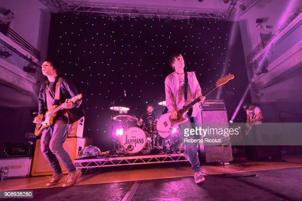 Ryan Jarman, Ross Jarman and Gary Jarman of The Cribs perform on stage at The Queen's Hall on January 22, 2018 in Edinburgh, Scotland.