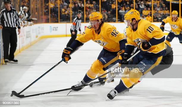 Ryan Johansen and Colton Sissons of the Nashville Predators skates against the Vegas Golden Knights during an NHL game at Bridgestone Arena on...