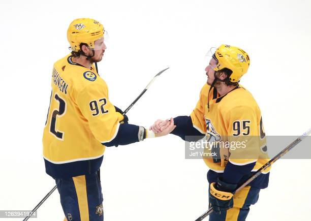Ryan Johansen and Matt Duchene of the Nashville Predators celebrate the 4-2 win over the Arizona Coyotes after Game Two of the Western Conference...