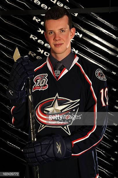 Ryan Johansen drafted fourth overall by the Columbus Blue Jackets poses for a portrait during the 2010 NHL Entry Draft at Staples Center on June 25...