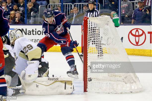 Ryan Johansen of the Columbus Blue Jackets beats MarcAndre Fleury of the Pittsburgh Penguins for a goal during the second period in Game Four of the...