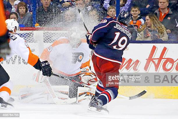 Ryan Johansen of the Columbus Blue Jackets beats Ray Emery of the Philadelphia Flyers for his second goal of the game during the third period on...