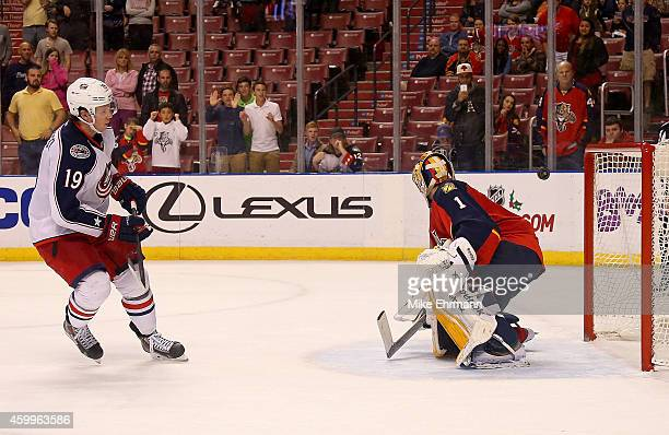 Ryan Johansen of the Columbus Blue Jackets scores the game winning goal against Roberto Luongo of the Florida Panthers during a game at BBT Center on...