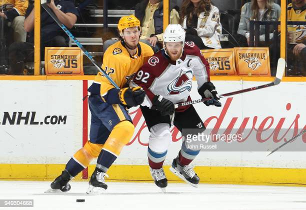 Ryan Johansen of the Nashville Predators battles for the puck against Gabriel Landeskog of the Colorado Avalanche in Game Five of the Western...