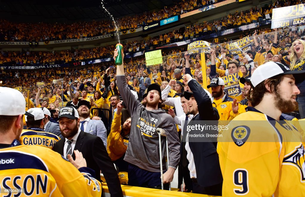 Ryan Johansen #92 of the Nashville Predators celebrates with teammates after they defeated the Anaheim Ducks 6 to 3 in Game Six of the Western Conference Final during the 2017 Stanley Cup Playoffs at Bridgestone Arena on May 22, 2017 in Nashville, Tennessee.