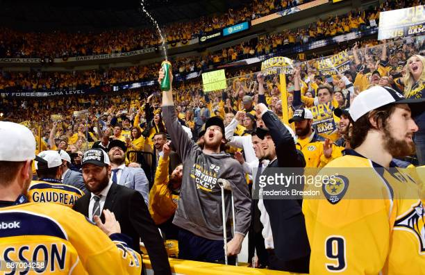 Ryan Johansen of the Nashville Predators celebrates with teammates after they defeated the Anaheim Ducks 6 to 3 in Game Six of the Western Conference...