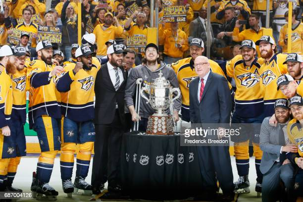 Ryan Johansen of the Nashville Predators celebrates with the Clarence S Campbell Bowl and teammates after they defeated the Anaheim Ducks 6 to 3 in...