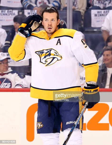 Ryan Johansen of the Nashville Predators looks on during the pregame warm up prior to NHL action against the Winnipeg Jets in Game Four of the...