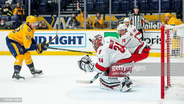 Ryan Johansen of the Nashville Predators scores a goal against Petr Mrazek of the Carolina Hurricanes during the second period at Bridgestone Arena...