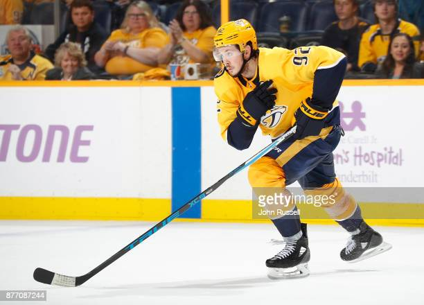 Ryan Johansen of the Nashville Predators skates against the Colorado Avalanche during an NHL game at Bridgestone Arena on November 18 2017 in...