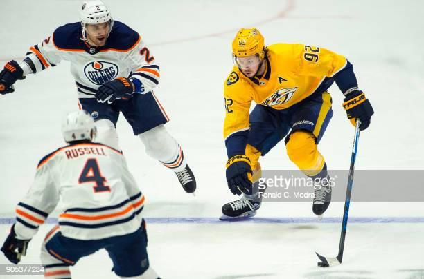 Ryan Johansen of the Nashville Predators skates against the Edmonton Oilers during an NHL game at Bridgestone Arena on January 9 2018 in Nashville...