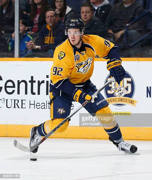 Ryan Johansen of the Nashville Predators skates against the Philadelphia Flyers during an NHL game at Bridgestone Arena on February 4 2016 in...