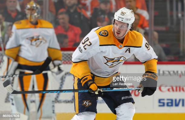 Ryan Johansen of the Nashville Predators skates against the Philadelphia Flyers on October 19 2017 at the Wells Fargo Center in Philadelphia...