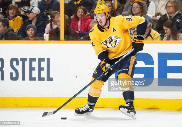 Ryan Johansen of the Nashville Predators skates against the Minnesota Wild during an NHL game at Bridgestone Arena on December 30 2017 in Nashville...