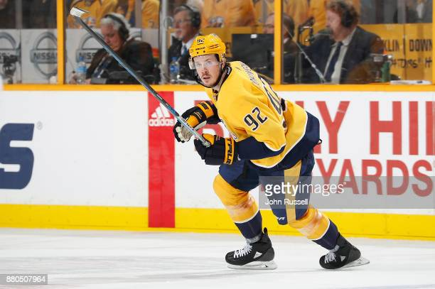 Ryan Johansen of the Nashville Predators skates against the Montreal Canadiens during an NHL game at Bridgestone Arena on November 22 2017 in...