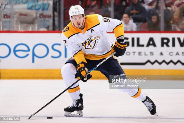 Ryan Johansen of the Nashville Predators skates with the puck during the NHL game against the Arizona Coyotes at Gila River Arena on January 4 2018...