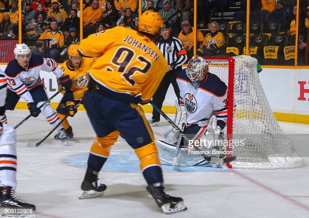 Ryan Johansen of the Nashville Predators takes a shot on goalie Cam Talbot of the Edmonton Oilers during the first period at Bridgestone Arena on...