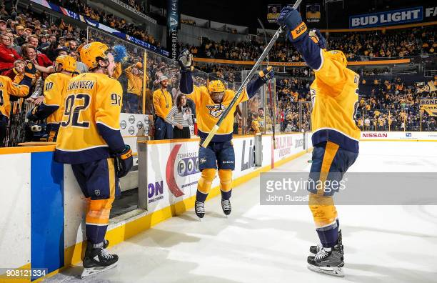 Ryan Johansen PK Subban and Anthony Bitetto of the Nashville Predators celebrate a 43 win against the Florida Panthers during an NHL game at...