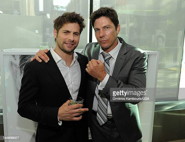 Ryan Johnson and Michael Trucco attend USA Network Upfront 2012 after party at Alice Tully Hall at Lincoln Center on May 17 2012 in New York City