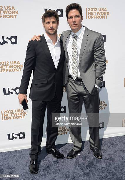 Ryan Johnson and Michael Trucco of Fairly Legal attend USA Network Upfront 2012 arrivals at Alice Tully Hall at Lincoln Center on May 17 2012 in New...