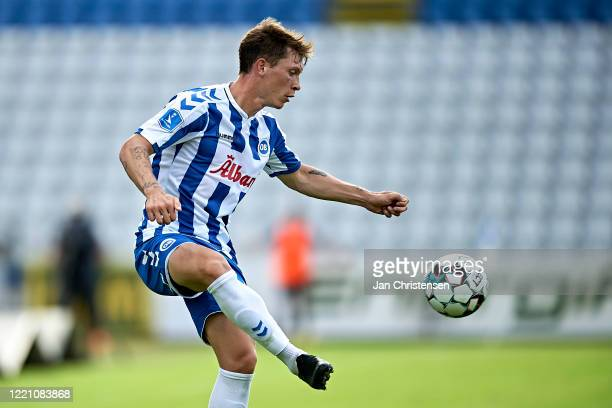 Ryan Johnson Laursen of OB Odense in action during the Danish 3F Superliga match between OB Odense and SonderjyskE at Nature Energy Park on June 18,...